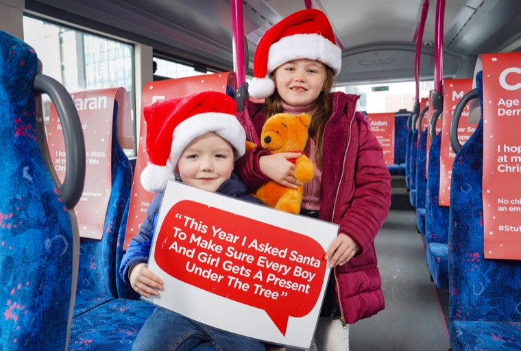 James and Sophie Waide help launch the Stuff a Bus Virtual Toy Appeal.