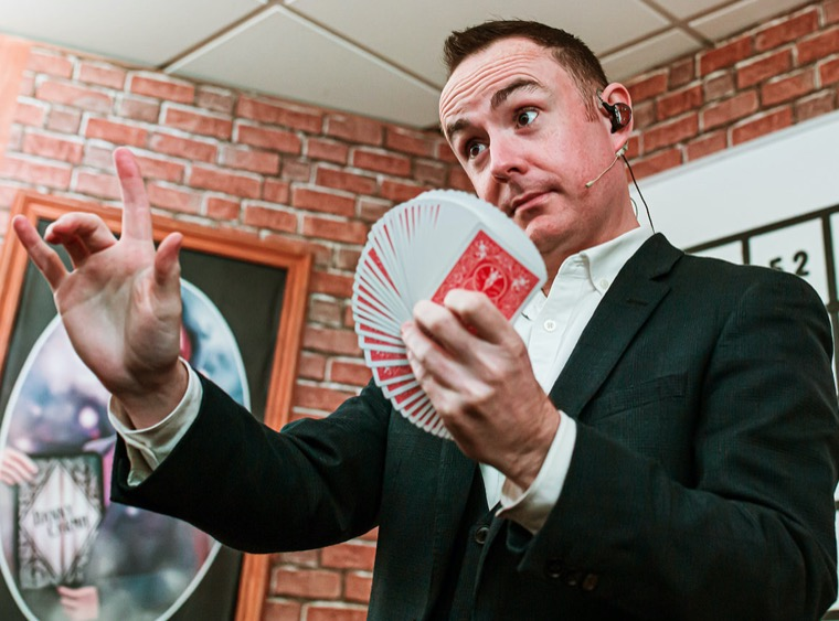 Armagh magician Caolan McBride in Cahoots NI show The University of Wonder and Imagination