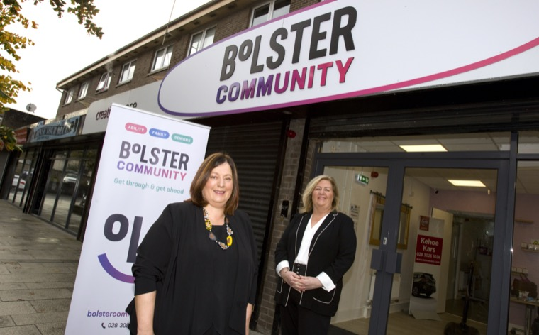 Allison Slater, Operations Manager and Jacinta Linden, CEO, announcing their community support charity's new brand name - Bolster Community.