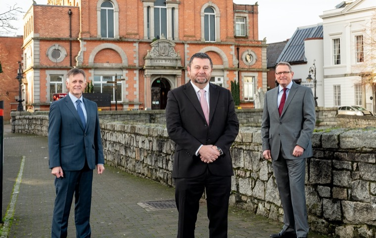 Pictured outside Newry Town Hall are from left: Mark Bleakney, Southern Regional Manager, Invest NI with Maurice Healy, CEO of Glantus and Derek Andrews, Head of International Investment, Invest NI.
