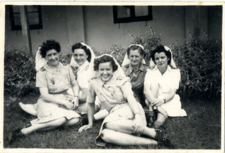 Patricia Mahood (front, centre) with nursing colleagues outside the 'Sisters Mess', British General Hospital, Poona, India.   Newry and Mourne Museum Collection