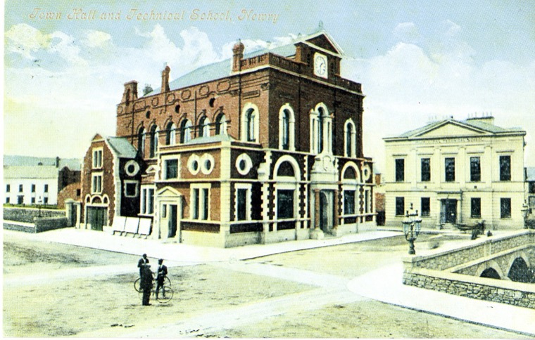 Newry Town Hall in the 1900s. The construction of the Town Hall, which opened in 1894, was one of the last major achievements of the Town Commissioners.  Newry and Mourne Museum Collection
