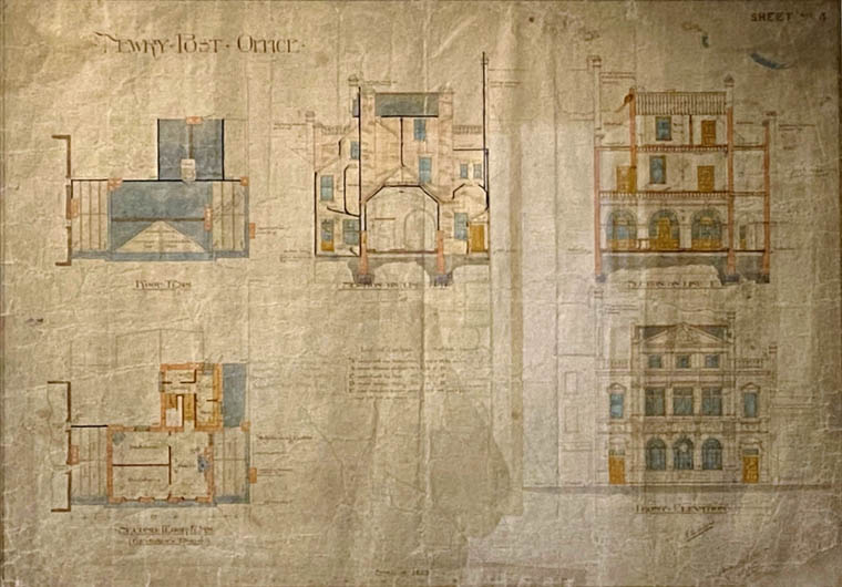 Original architectural plans of Newry Post Office which are in Newry and Mourne Museum. Newry and Mourne Museum Collection