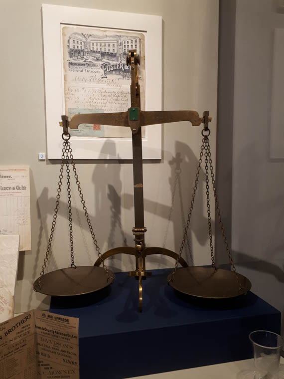Brass Inspector Scales which were used in Newry Post Office in Hill Street. These date from c.1900. Newry and Mourne Museum Collection