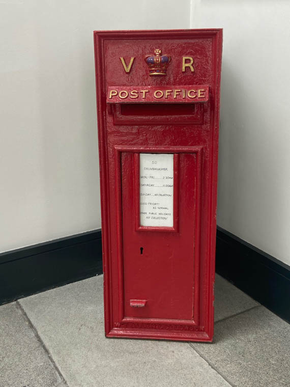 A Victorian post box which was originally mounted in a wall in Drumbanagher, near Newry. Newry and Mourne Museum Collection