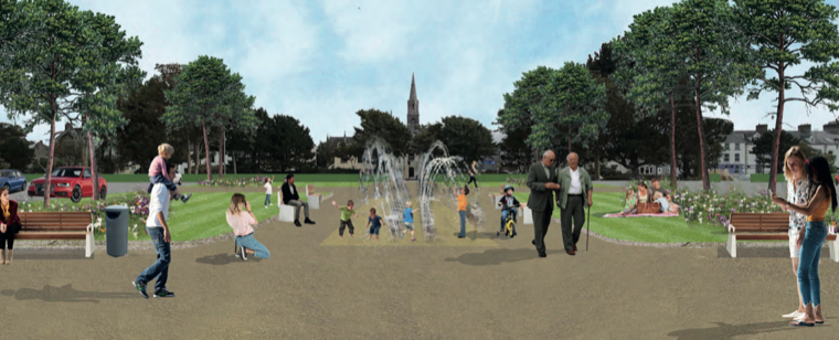 An artists impression of a proposed car park water feature