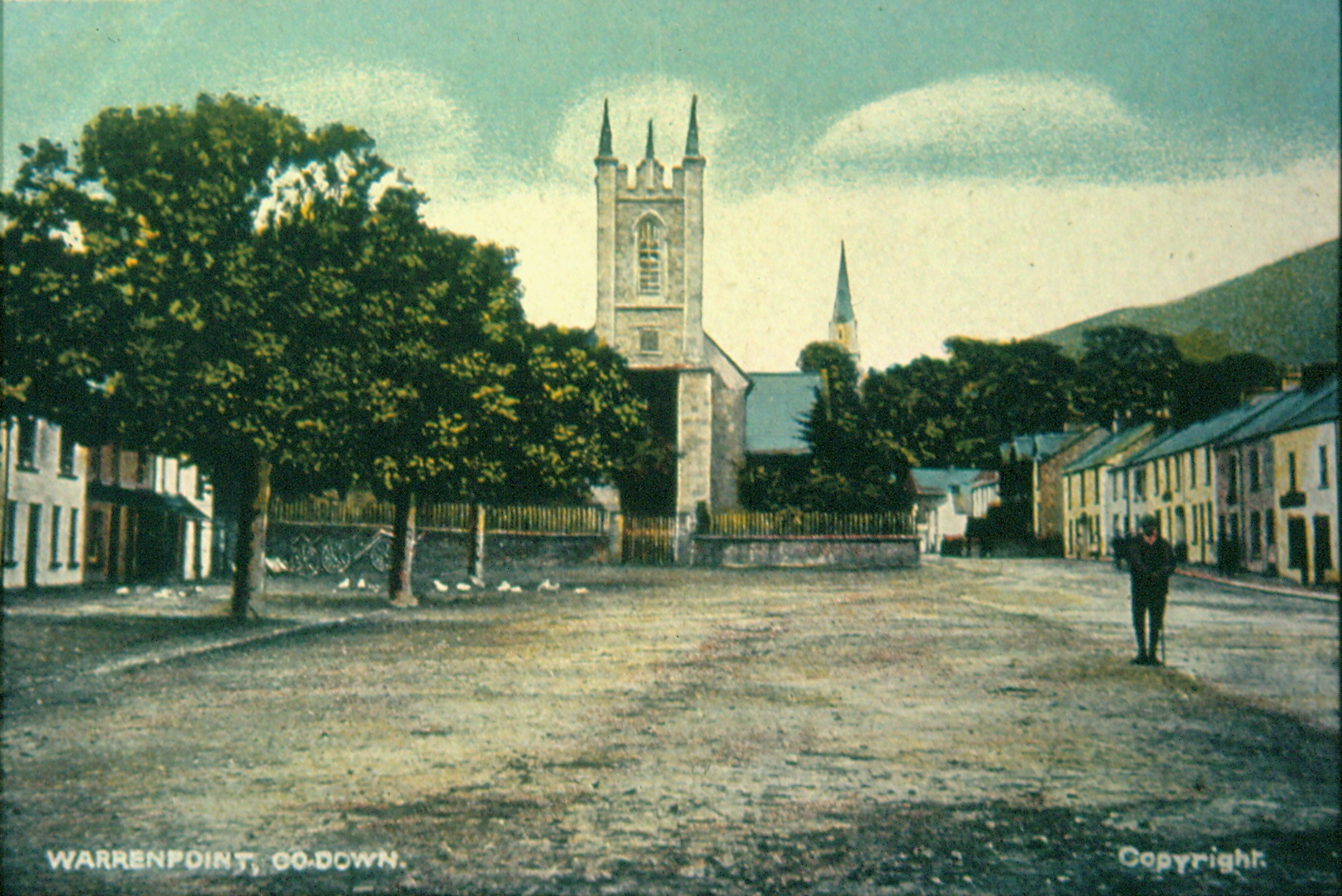 Postcard showing the village of Rostrevor in the early years of the 20th century. Newry and Mourne Museum Collection