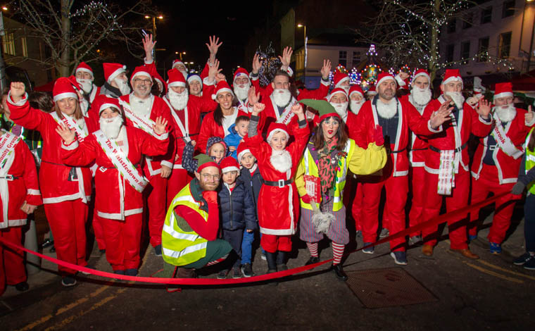 The Starting Line up seconds before the Race Started at the Santa Run in Newry. Photograph: Newraypics.com