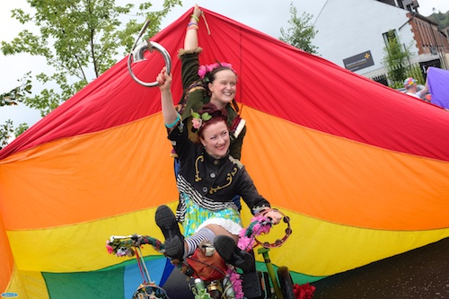 Enjoying the Pride in Newry Festival Parade. Photograph: Columba O'Hare