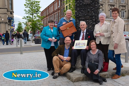 Launching the Festival of Windows which will take place in Hill Street, Newry from Friday the 13th of June till Friday the 27th of June. Back from left: Marie McKeown, U3A; James Adair, Journeyman Saddlery; Rosemary O'Reilly, U3A and Agnes Murnin, SRC. Front Garry McElherron, Newry 2020 Joseph Alphonsus Morgan, U3A and Fiona McCartney, SRC. Photograph: Columba O'Hare