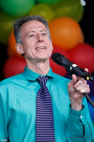 Peter Tatchell speaking at Pride in Newry 2014. Photograph: Columba O'Hare