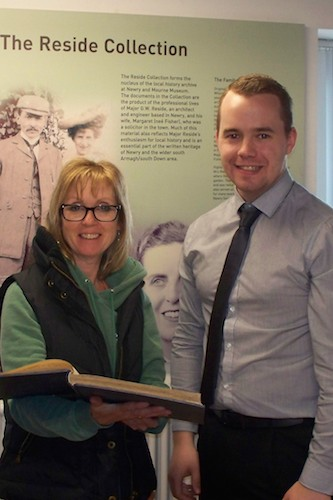 Linda Reid pictured with Shane McGivern, in the Reading Room at Newry and Mourne Museum.