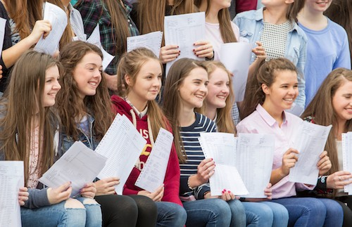 Sacred Heart Grammar School Students celebrate outstanding success following release of GCSE results. Photograph: Newraypics.com