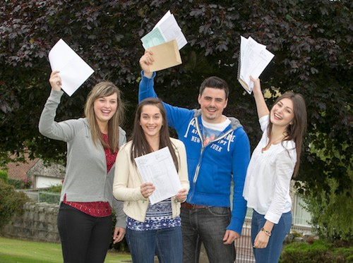 Newry High School  students , Hanna Kennedy, Aimee McGowan, Brian Graham and Chloe Henning   who celebrated getting their exam results. Photograph : Newraypics.com