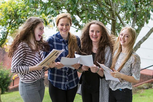 Our Lady's Grammar School Students  open their results  Caitlin Fearon, Mollie Milner, Holly McAllister and Julie Brady. Photograph: Newraypics.com