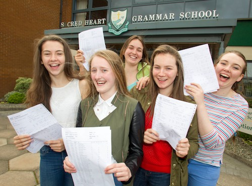 Congratulations go to the 5 Sacred Heart Grammar School girls who obtained 10 A* grades. left to right; Jayne Hearty, Meabh Monaghan, Daisy Eccles, Helen Monaghan and Aine Cassidy.  Photograph : Newraypics.com