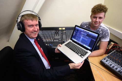 Social Development Minister Mervyn Storey, MLA is pictured in the recording studio of the Magnet Young Adult Centre with Caolin Dooley. Photograph: William Cherry / Press Eye