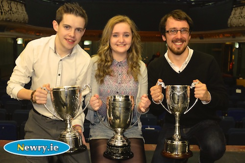 Neil Heaney, Niamh Smyth Hagan and Kilian Foy, Newpoint Players with their trophies for their production of Metamorphosis at Newry Drama Festival. Photograph: Columba O'Hare