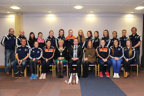 The Armagh U17 Ladies Football team at the reception. Photograph: John Merry