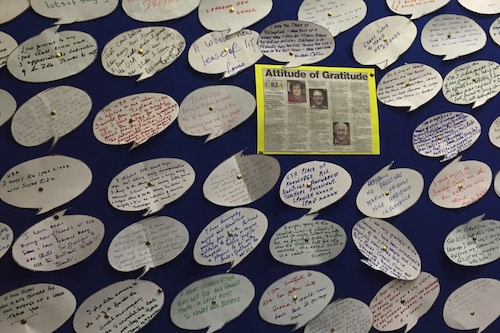 Speech Bubbles at U3A displaying members gratitude.