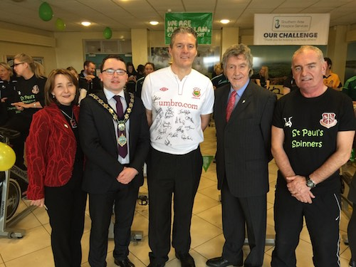 Micky Brady, Mayor Daire Hughes and Councillor Roisin Mulgrew at the St. Paul's High School Charity Spinathon.