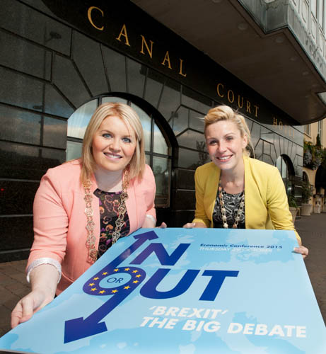 Newry, Mourne and Down District Council Chairperson, Councillor Naomi Bailie (left) and Deborah Loughran (right), President of the Newry Chamber of Commerce and Trade announce the date and line up of speakers at the Big Brexit Debate which will take place on Thursday 29 October 2015 in the Canal Court Hotel, Newry.
