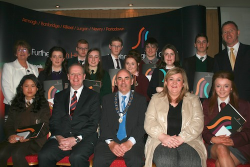 Best Students in Each School pictured with Brian Doran Chief Executive SRC, Deputy Mayor McDonald, Karen McKevitt MLA, Margo Cosgrove Chair of Area Learning Community and David Vint, Assistant Director of Community & Schools' Partnership, SRC.