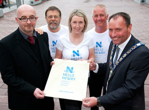 Pictured at the brand launch is Damian Connor, DSD, Jack Murphy, trader and Chair of Newry City Centre Management, Donna Trimble, Newry City Centre Management, Eddy Curtis, Director of Administration, Newry & Mourne DC and Cllr Mickey Ruane, Mayor of Newry & Mourne DC. The Northern Ireland Executive through the Department of Social Development has provided funding to assist with the development of Newry City Centre.
