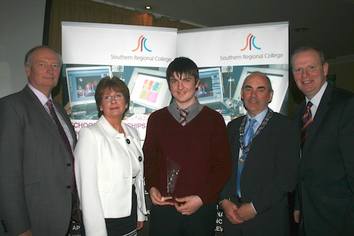 Richard Shannon from Kilkeel High School was presented with Student of the Year Award.  Picture with David Cunningham Principal Kilkeel High School, Margo Cosgrove Chair of Area Learning Community, Deputy Mayor McDonald and David Vint, Assistant Director of Community & Schools' Partnership, SRC.
