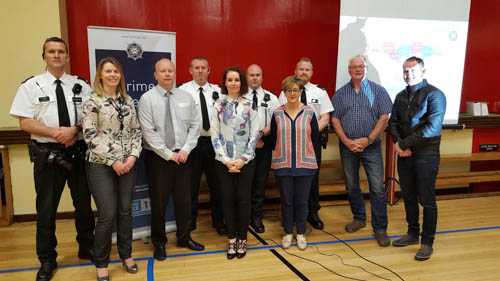 Police officers who attended with Joanna Ferris, Newtownhamilton High School, Principal of Newtownhamilton High School, Mr Neil Megaw, Maureen O'Gorman, Education Authority Youth Services, Rosie Carey, Education Authority Youth Services, Paul Bradley, Education Authority Youth Services and Wayne Morris, Education Authority Youth Services.