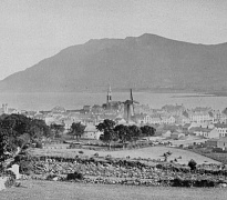 View of Warrenpoint from the Bridal Loanan c.1900 with Carlingford Lough and the Cooley Mountains beyond. Newry and Mourne Museum Collection