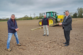 Minister Poots is pictured with (left to right) Arable Farmer Charlie Kilpatrick and Bruce Steel, Chairman of the Ulster Arable Society