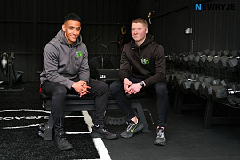 Armagh players, Jemar Hall and Blaine Hughes in their new H&H Gym in Camlough. Photograph: Columba O'Hare/ Newry.ie