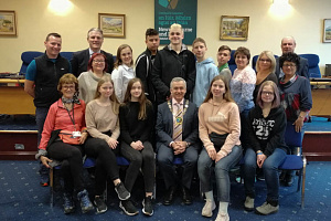 Students and teachers from School No 7 in Municipality of Kirovsk, Murmansk Region, Russian Federation are welcomed by Newry, Mourne and Down District Council Chairman, Councillor Mark Murnin on a visit to the Council.