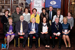 Newry Drama Festival committee members pictured with Cllr Gillian Fitzpatrick, Chairperson, Newry, Mourne and Down Council at the launch of the festival. Photograph: Columba O'Hare