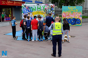Hundreds of artists in the making had a go at making their own street art at last years event. Photograph: Columba O'Hare