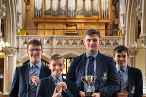 St Colman's Grammar School pupils who competed in the Newry Musical Feis Organ Solo (Open) Competition at St Catherine's Dominican, Newry. Pictured from left are Harry McMahon, Daire Downey, junior section winner; Eoin Cassidy, Intermediate section winner and Terry Rafferty. Photograph: Columba O'Hare/ Newry.ie