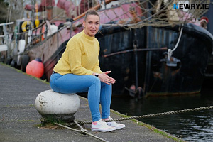 Elina Liepina at the Albert Basin in Newry. Photograph: Columba O'Hare/ Newry.ie
