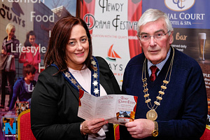Cllr Gillian Fitzpatrick, Chairperson, Newry, Mourne and Down Council and Gerry McNulty, Chairman, Newry Drama Festival looking forward to the festival. Photograph: Columba O'Hare