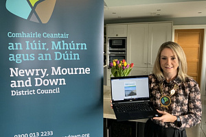 Newry, Mourne and Down District Council Chairperson, Councillor Laura Devlin, launches this year's NMD Connect magazine ahead of Monday's Council meeting.