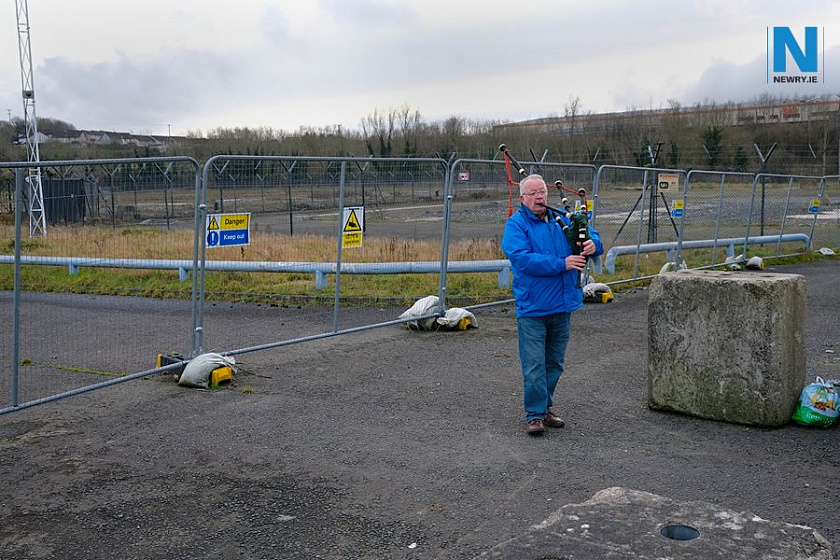 Bernie McCabe puts some practice in on the Bagpipes at Damolly, Newry. Photograph: Columba O'Hare/ Newry.ie