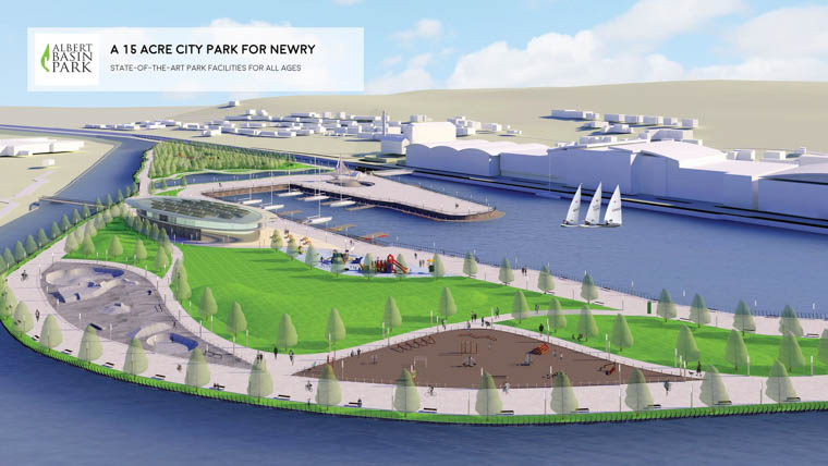A artists impression of how the park at the Albert Basin in Newry could look.