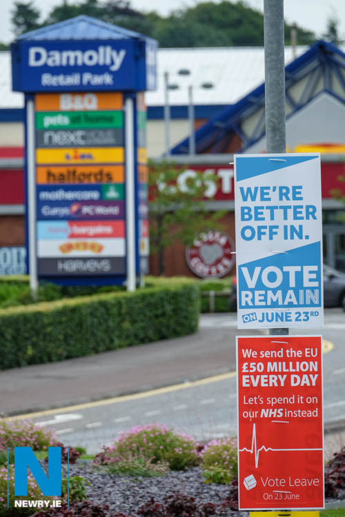 Posters from the Brexit Referendum at Damolly Retail Park. Photograph: Columba O'Hare