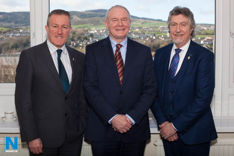 Martin McGuinness, Deputy First Minister with party colleagues Conor Murphy and Mickey Brady during a visit to Newry in 2016. Photograph: Columba O'Hare