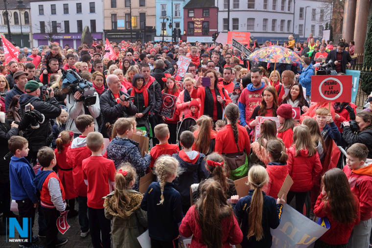 A section of the crowd at the recent Newry protest in support of the Irish Language. Photograph: Columba O'Hare