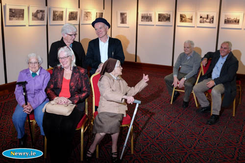 In conversation at the launch of Sean Hillen's  Melancholy Witness Exhibition were back Sean and Jacinta Gill. Front from left Imelda Connolly, Frances Cunningham and Sr Ann Connolly. In background are Jim Hillen and Desy Cunningham. Photograph: Columba O'Hare