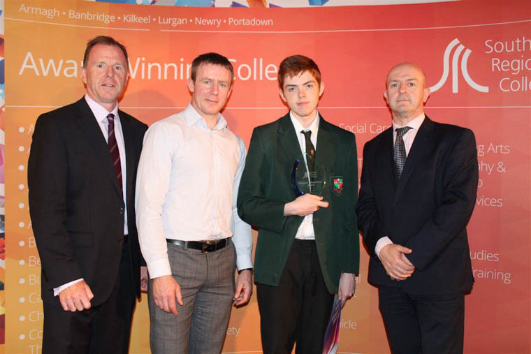 David Vint Assistant Director of Community, Schools' Partnership and External Funding, Justin McNulty Newry and Armagh MLA, Endeavour award winner Cathal Hughes from St Joseph's Boys School Newry and Raymond Sloan Director of Client Services