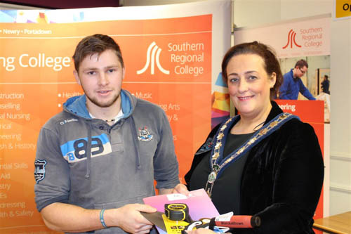 Thomas Fegan, Newry, Brickwork winner with Gillian Fitzpatrick, Chairperson, Newry, Mourne and Down District Council.