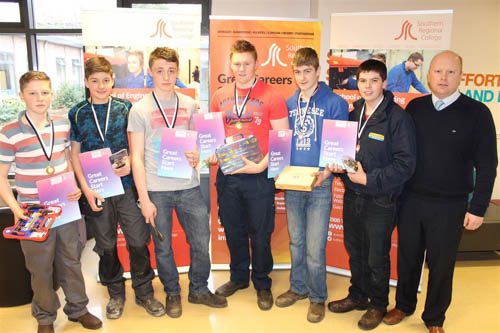 Newtownhamilton HS SPP winners with Principal, Neil Megaw