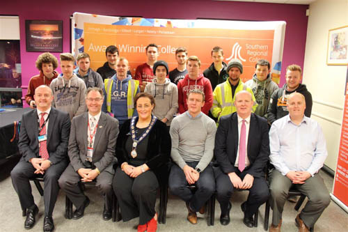 Raymond Sloan SRC Director of Client Services, David Cooper CITB, Gillian Fitzpatrick Chairwoman Newry, Mourne and Down Council, Justin McNulty Newry and Armagh MLA, Brian Doran SRC Chief Executive, Lindsay Bronte SRC Head of School Engineering and Construction along with the overall winners at the recent SkillBuild Competition